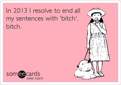 In 2013 I resolve to end all my sentences with 'bitch', bitch.