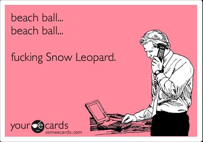 beach ball... beach ball...  fucking Snow Leopard.