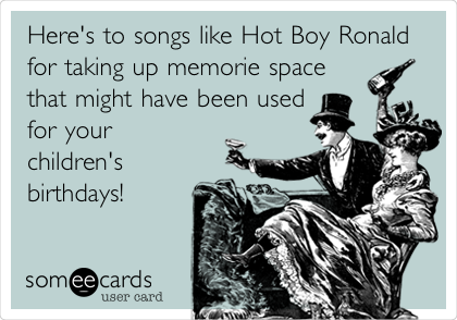 Here's to songs like Hot Boy Ronald for taking up memorie space that might have been used for your children's birthdays!