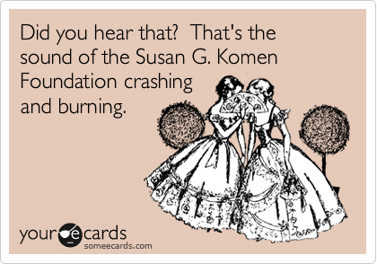 Did you hear that?  That's the sound of the Susan G. Komen Foundation crashing and burning.