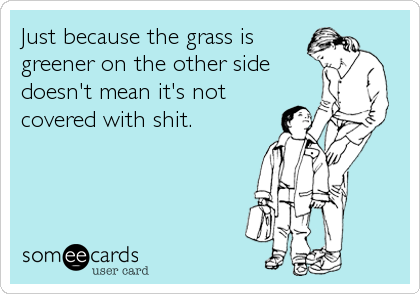 Just because the grass is greener on the other side doesn't mean it's not covered with shit.