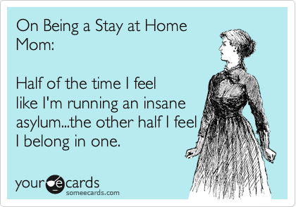 On Being a Stay at Home Mom:     Half of the time I feel like I'm running an insane asylum...the other half I feel I belong in one.