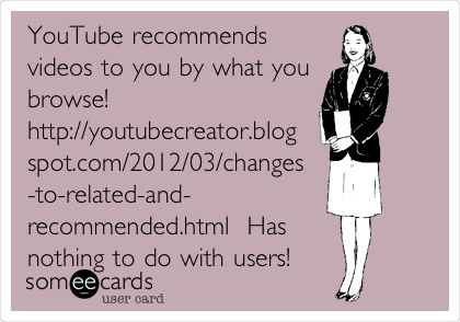 YouTube recommends videos to you by what you browse! http://youtubecreator.blog spot.com/2012/03/changes -to-related-and- recommended.html  Has nothing to do with users!
