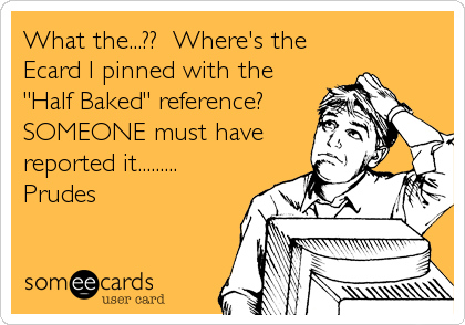 "What the...??  Where's the Ecard I pinned with the ""Half Baked"" reference?  SOMEONE must have reported it......... Prudes"
