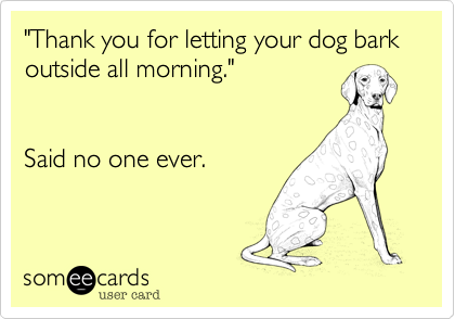 """Thank you for letting your dog bark outside all morning.""