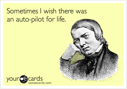 Sometimes I wish there was an auto-pilot for life.