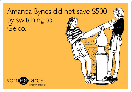 Amanda Bynes did not save $500by switching toGieco.