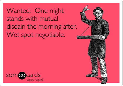 Wanted:  One night stands with mutual disdain the morning after.  Wet spot negotiable.
