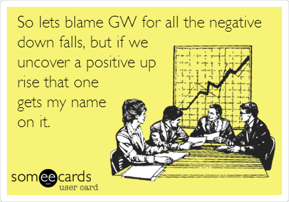 So lets blame GW for all the negative down falls, but if we uncover a positive up rise that one gets my name on it.