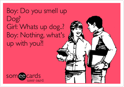 Boy%3A Do you smell up Dog%3F Girl%3A Whats up dog..%3F  Boy%3A Nothing%2C what's up with you%3F!