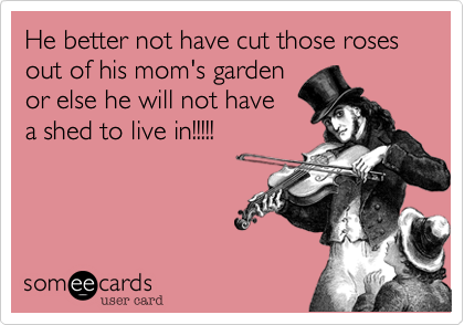 He better not have cut those roses out of his mom's garden