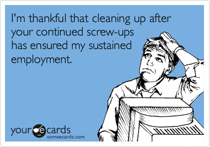 I'm thankful that cleaning up after your continued screw-ups  has ensured my sustained employment.