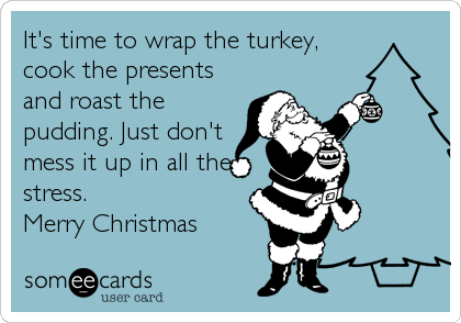It's time to wrap the turkey, cook the presents and roast the pudding. Just don't mess it up in all the stress. Merry Christmas