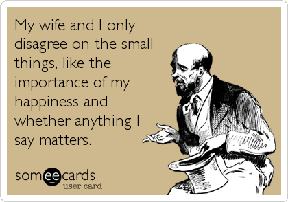 My wife and I only disagree on the small things, like the importance of my happiness and whether anything I say matters.