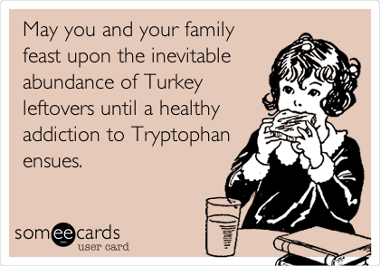May you and your family feast upon the inevitable abundance of Turkey leftovers until a healthy addiction to Tryptophan ensues.