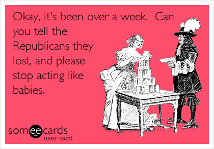 Okay, it's been over a week.  Can you tell the Republicans they lost, and please stop acting like babies.