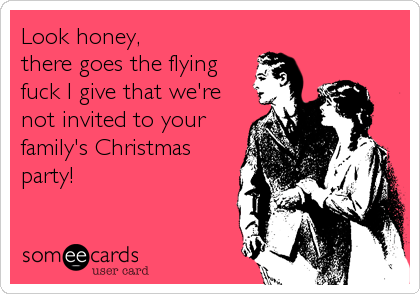 Look honey,  there goes the flying fuck I give that we're not invited to your family's Christmas party!