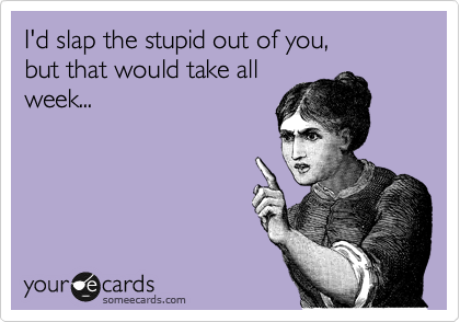 I'd slap the stupid out of you,  but that would take all week...