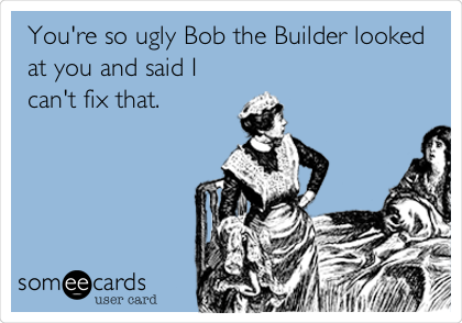 You're so ugly Bob the Builder looked at you and said I can't fix that.