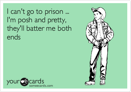 I can't go to prison ... I'm posh and pretty, they'll batter me both ends