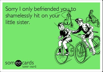 Sorry I befriended you to shamelessly hit on your little sister.