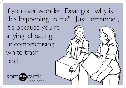 """If you ever wonder """"Dear god, why is this happening to me""""... Just remember, it's because you're  a lying, cheating, uncompromising white trash bitch."""