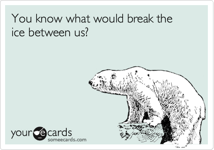 You know what would break the ice between us?