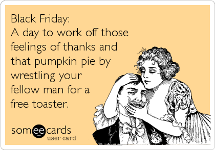 Black Friday:  A day to work off those feelings of thanks and that pumpkin pie by wrestling your fellow man for a free toaster.