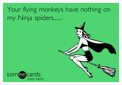Your flying monkeys have nothing on my Ninja spiders.......