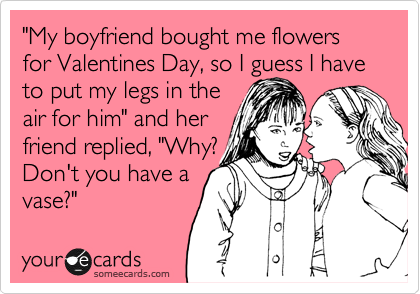 """""""My boyfriend bought me flowers for Valentines Day, so I guess I have to put my legs in the air for him"""" and her  friend replied, """"Why?  Don't you have a vase?"""""""