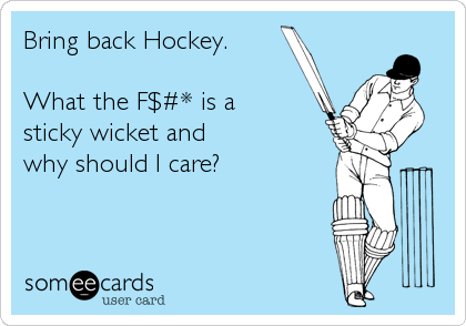 Bring back Hockey.  What the F$#* is a sticky wicket and  why should I care?