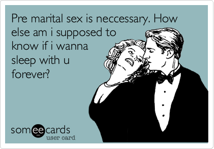 Pre marital sex is neccessary. How else am i supposed to know if i wanna sleep with u forever?