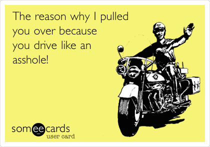 The reason why I pulled  you over because you drive like an  asshole!
