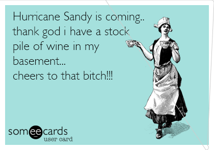 Hurricane Sandy is coming.. thank god i have a stock pile of wine in my basement... cheers to that bitch!!!