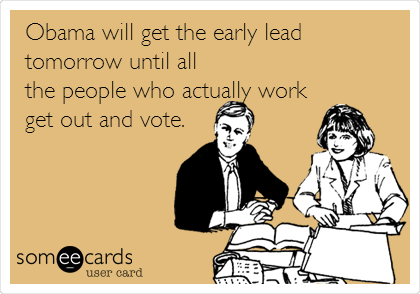 Obama will get the early lead tomorrow until all the people who actually work get out and vote.