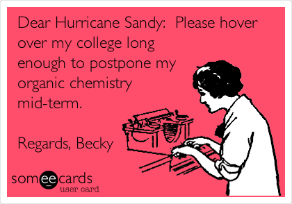 Dear Hurricane Sandy:  Please hover over my college long enough to postpone my organic chemistry mid-term.  Regards, Becky