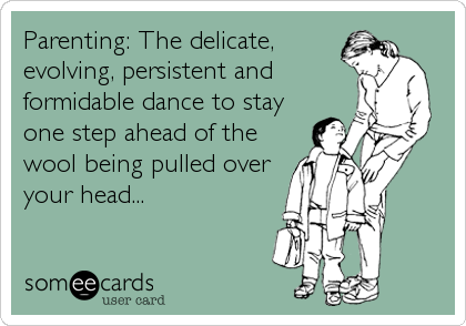 Parenting: The delicate, evolving, persistent and formidable dance to stay one step ahead of the wool being pulled over your head...