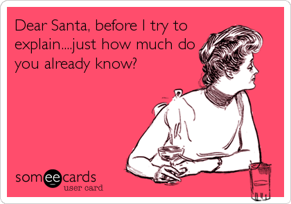Dear Santa, before I try to  explain....just how much do you already know?