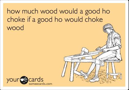 how much wood would a good ho choke if a good ho would choke wood