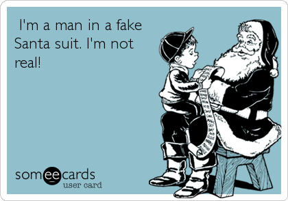 I'm a man in a fake Santa suit. I'm not real!