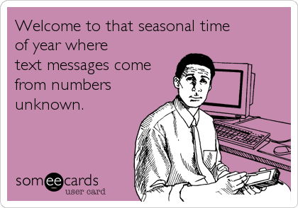 Welcome to that seasonal time 