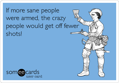 If more sane people were armed, the crazy people would get off fewer shots!