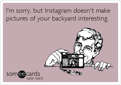 I'm sorry, but Instagram doesn't make pictures of your backyard interesting.