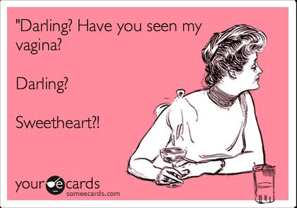 """Darling? Have you seen my vagina?  Darling?  Sweetheart?!"