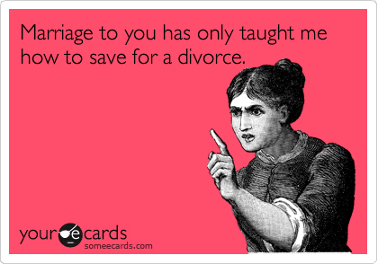 Marriage to you has only taught me how to save for a divorce.