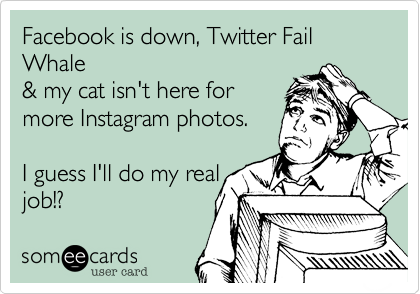 Facebook is down, Twitter Fail Whale & my cat isn't here for more Instagram photos.  I guess I'll do my real job!?