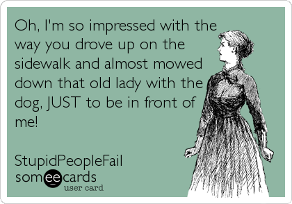 Oh, I'm so impressed with the way you drove up on the sidewalk and almost mowed down that old lady with the dog, JUST to be in front of me!  StupidPeopleFail