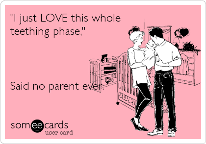 """""""I just LOVE this whole teething phase,""""    Said no parent ever."""