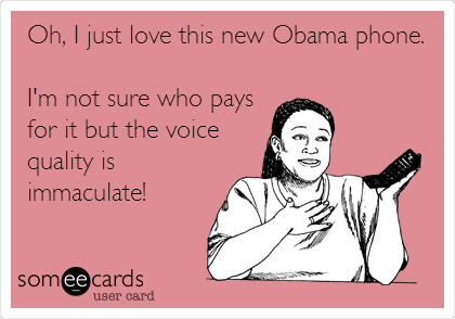 Oh, I just love this new Obama phone.   I'm not sure who pays for it but the voice quality is immaculate!