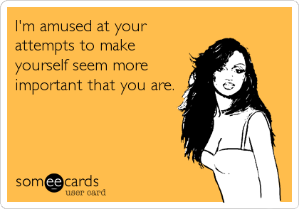 I'm amused at your attempts to make yourself seem more important that you are.